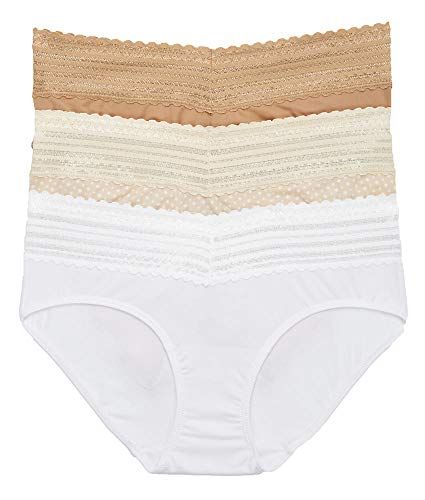 Warner's Women's No Pinching No Problems with Lace Hipster 3 Pack Panties, Toasted Almond/White/Butterscotch dot, XL ()
