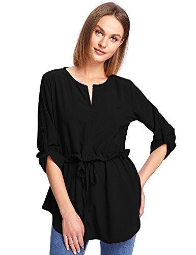 Milumia Women's Ruffle Slim Drawstring Waist Casual Tunic Blouse Large Black
