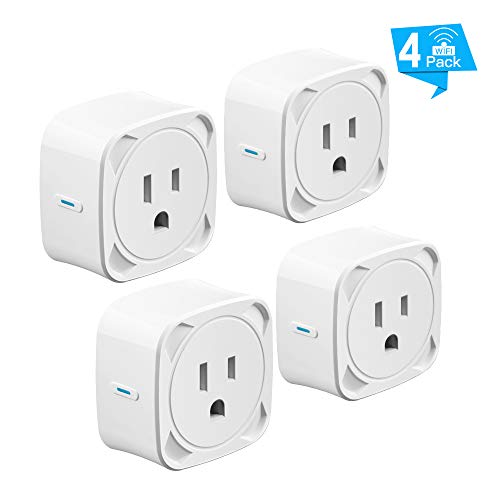 Lanwande Smart Plug, Upgraded Mini Outlet Remote Control Smart Socket with Timer Function from Anywhere, No Hub Required, Compatible with Alexa and Google Home 4 Pack
