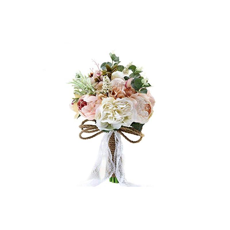 "silk flower arrangements abbie home bride bouquets - 9.5"" artificial wedding flower roses toss holding bouquet - rhinestone ribbon décor (d520)"