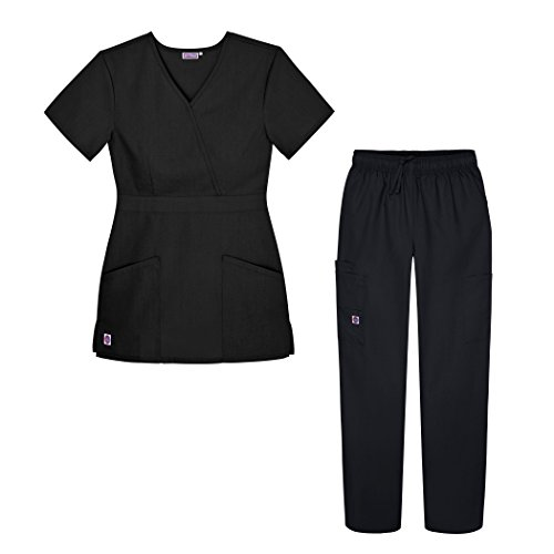 Sivvan Women's Scrub Set - Multi Pocket Cargo Pants & Stylish Mock Wrap Top - S8401 - Blk - M