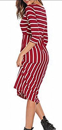 Jaycargogo Femmes Encolure Ras Du Cou À Manches 3/4 Rayé T-shirt Rouge Mini-robe Lâche