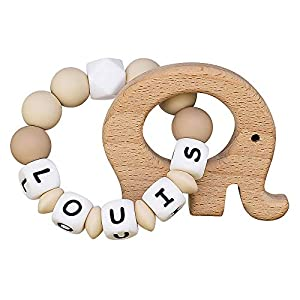 Silicone Teething Ring Personalised Name Wooden Elephant Toy Boys Girls Bracelet Teething Relief Chewable Beads Binky…