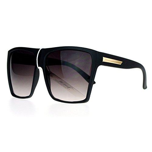 SA106 Luxury Gradient Lens Extra Oversized Flat Top Mobster Rectangular Sunglasses Matte - Mobster Glasses