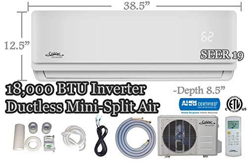 CoVac 18,000 BTU Ductless Mini-Split Air Conditioner - Inverter SEER 19 - Cooling & Heating - Dehumidifier - 240v/60hz - PreCharged Condenser - Ultra Quiet - AHRI - 16 Feet Line Set + Accessories