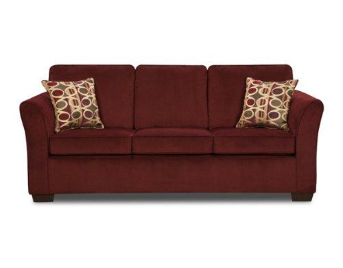 Simmons Upholstery Wine Elegant Micro Fiber Queen Size Sofa (Simmons Microfiber Sofa)