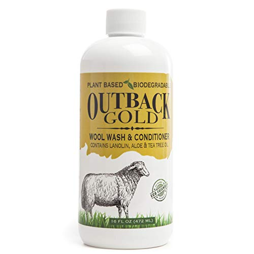 Outback Gold Wool Wash, 16 Ounce, Natural Plant Based Mild Liquid Soap, Cleans and Conditions Sheepskin, Wool and More, with Lanolin, Tea Tree Oil, Aloe, Coconut Oil, Scented with Pure - Suede Outback