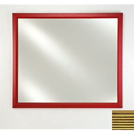 Afina FM2436MERGS Framed Mirror Plain Countertop Bathroom Mirrors With Meridian Frame 24 X 36 Gold Silver
