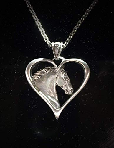 Gypsy Heart Horse pendant in silvery pewter
