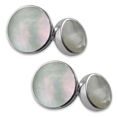 - Sterling Silver Mother of Pearl Double-sided Cufflinks