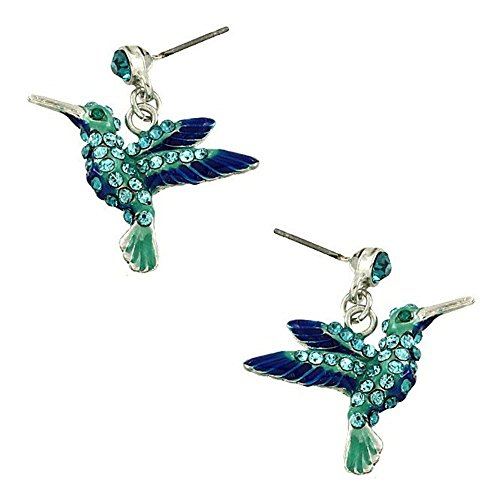 DianaL Boutique Hummingbird Earring Bird Earrings Post Crystal Enamel Gift Boxed