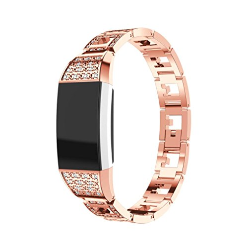 Replace Band Lightweight Stainless Steel Watch Band Wrist Bracelet Strap for Fitbit charge 2 Smart Watch (Rose Gold) - Stripes Cuff Watch