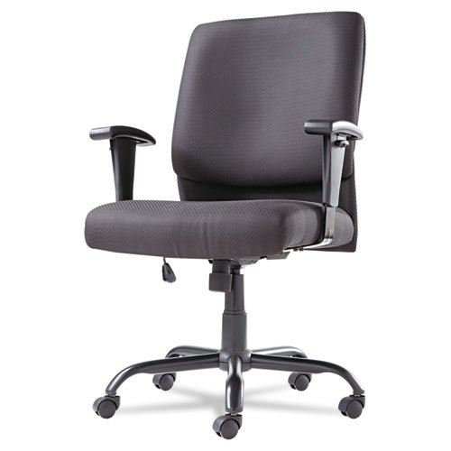 OIF BT4510 Big and Tall Swivel/Tilt Mid-Back Chair, Height Adjustable T-Bar Arms, Black