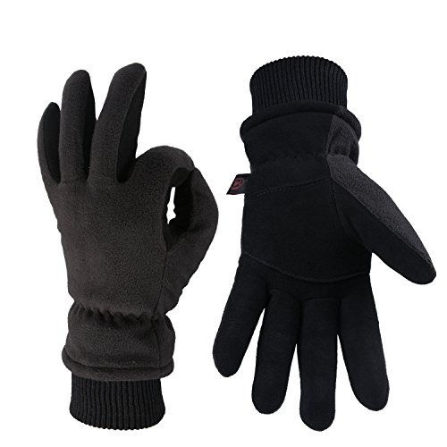 OZERO Winter Gloves -30°F Thermal Snow Work Ski Glove - Deerskin Suede Leather Palm and Polar Fleece Back with Insulated Cotton - Windproof Water-resistant Warm hands in Cold Weather for Women and Men