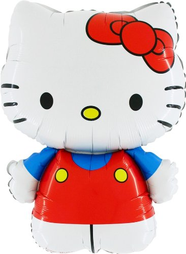 Blue Hello Kitty (30 Inch Hello Kitty Dressed In Red/Blue Foil Balloon (CS134))