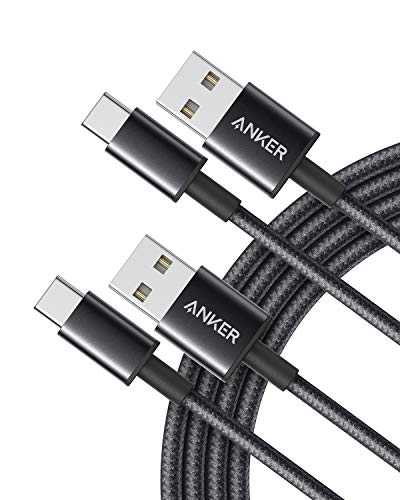 Anker USB C Cable, [2-Pack 6Ft] Premium Nylon USB-C to USB-A Fast Charging Type C Cable, for Samsung Galaxy S9/ S8/ Note 8, Ipad Pro 2018, LG V20/ G5/ G6, Pixel 2 XL, and More