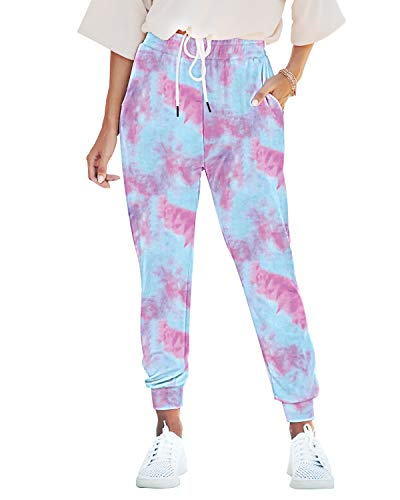 Seyorz Women's Joggers Pants Tie Dye Sweatpants Cuffed Soft Jogging Pants with Pockets Drawstring Design(Blue, X-Large)