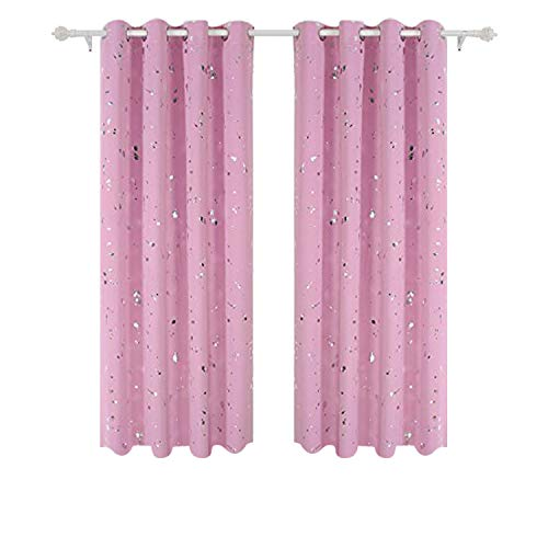Deconovo Silver Dots Printed Blackout Curtains with Grommet Top Pink Blackout Curtains for Girls Room 52W x 84L Baby Pink 2 Panels