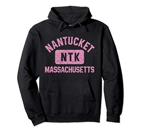 Nantucket NTK Gym Style Distressed Pink Print Pullover Hoodie