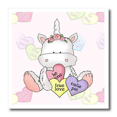 Personalized Conversation Hearts - 3dRose Cute Valentine Unicorn with Candy Hearts and Conversation Hearts Background-Iron on Heat Transfer, 6 by 6