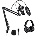 Microphone with Studio Headphone Set 192kHz/24 bit MAONO AU-A04H Vocal Condenser Cardioid Podcast Mic Compatible with Mac and