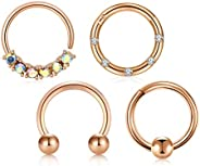 LAURITAMI 16G Surgical Steel Rook Daith Earrings Horseshoe Barbell Nose Rings Hoop Heart Shaped Tragus Cartila