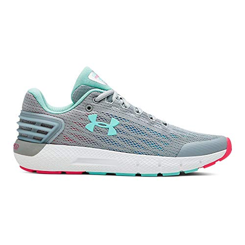 Under Armour Girls' Grade School Charged Rogue Sneaker (101)/Mod Gray, 4