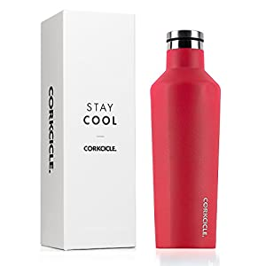Corkcicle Canteen Collection-Water Bottle & Thermos-Triple Insulated Shatterproof Stainless Steel, 16 oz, Waterman Off Red