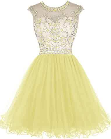 c248e4165b2 Tideclothes ALAGIRLS Beaded Prom Dress Short Tulle Homecoming Dress Hollow  Back