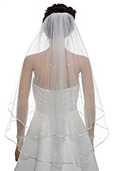 "SAMKY 2T 2 Tier 1/8"" Ribbon Edge Center Gathered Rhinestone Crystal Bridal Veil"