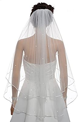 "SAMKY 2T 2 Tier 1/8"" Ribbon Edge Center Gathered Rhinestone Crystal Bridal Veil"
