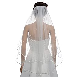 "2T 2 Tier 1/8"" Ribbon Crystal Circular Veil - Ivory Fingertip Length 36"" V511"