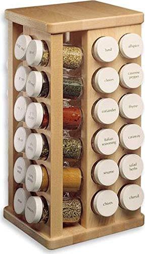 J.K. Adams Sugar Maple Wood Spice Jar Carousel, 48 Glass Jars, 8X16-Inch