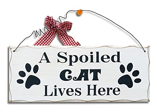 Attraction Design A Spoiled Cat Wood Folk Wisdom Plaque