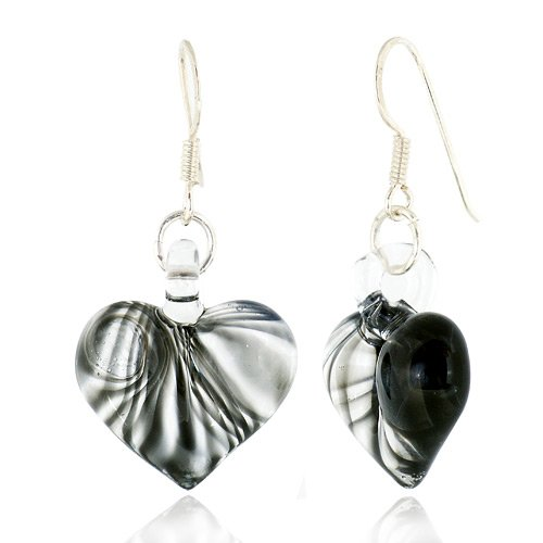 925 Sterling Silver Hand Blown Venetian Murano Glass Black Curve Line Heart Shaped Earrings