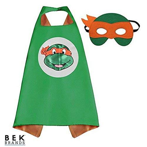 Bek Brands TMNT Ninja Turtles Michelangelo Superhero Cape and Mask Set | Dress up Satin Cape and Felt Mask ()