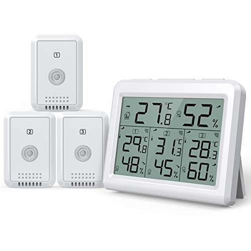AMIR Indoor Outdoor Thermometer, 3 Channels Digital Hygrometer Thermometer with 3 Sensor, Humidity Monitor Wireless with LCD Display, Room Thermometer and Humidity Gauge for Home, Office, Baby Room (Digital Thermometer Outside)