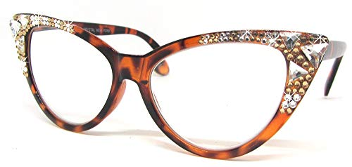 Burmese Swarovski Cat Eye Reading Glasses Tortoise Brown (Tortoise Frame with Crystal & Light Colorado Swarovskis, 1.50) ()