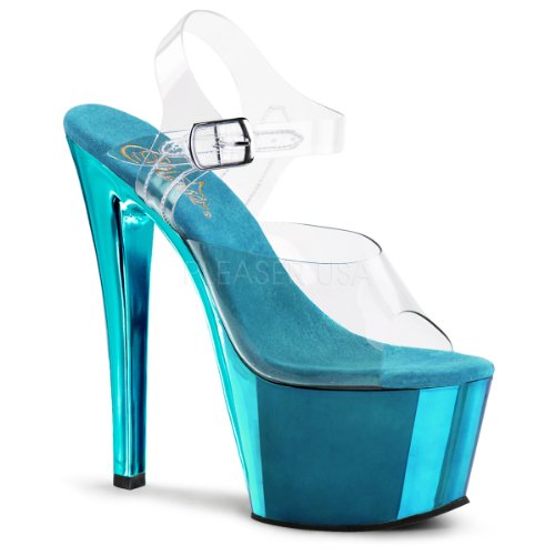 Pleaser Women's Sky308/C/Tech Dress Sandal, Clear Blue, 9 M US