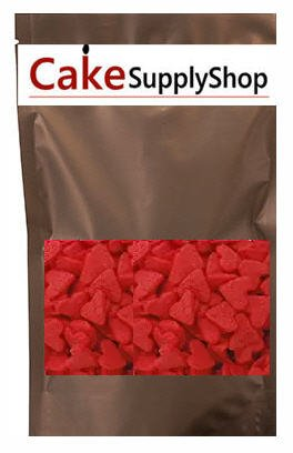 CakeSupplyShop Item#ED001 - Valentine Jumbo Red Heart Shapes Edible Sprinkles for Cakes and Cupcakes/Food Decoration 6 oz ()