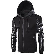 Partiss Men's PU Leather Sleeves Hoodie Jacket