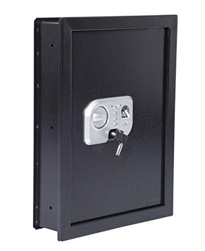 Flat Recessed Digital Biometric Fingerprint Built-In Hidden Wall Safe | Jewelry Document Money Cash Gun Security Secure Lock Box Home Office
