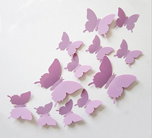 Cute Product 12pcs 3d Butterfly Removable Wall Decals Diy Home Decorations Art Decor Wall Stickers Murals For Babys Kids Bedroom Living Room Classroom