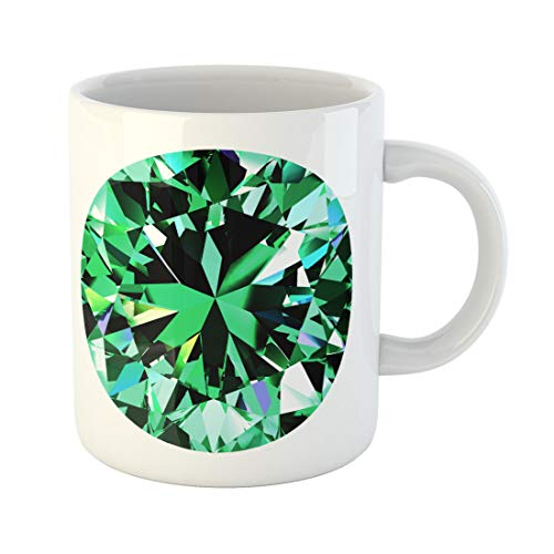 Semtomn Funny Coffee Mug Green Beautiful Emerald Round 3D Brilliant Celebrate Clear Crystal 11 Oz Ceramic Coffee Mugs Tea Cup Best Gift Or Souvenir -