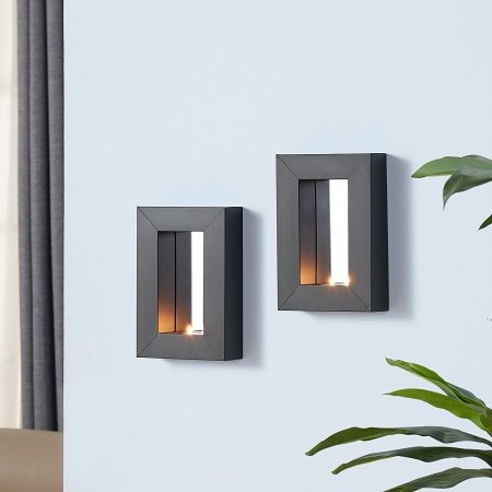 Mirror Tealight Candle Sconce with Metal Frame - Set of - Mirror Tealight
