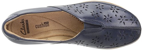 Clarks Womens Everlay Dairyn Mocassino Slip-on In Pelle Blu Scuro