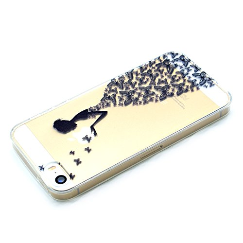 iPhone 5 5S SE Coque , Leiai Mode Fille papillon Clear Silicone Doux TPU Housse Gel Etui Case Cover pour Apple iPhone 5 5S SE