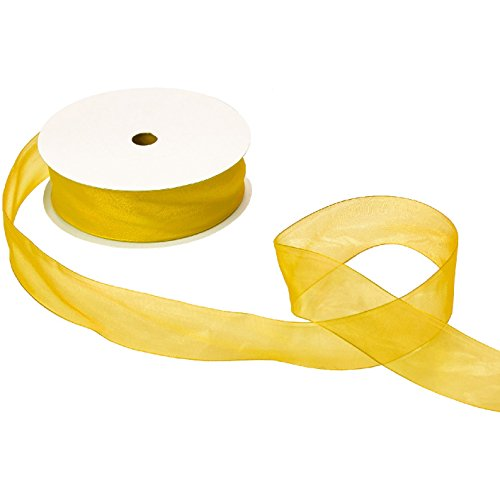 Jillson & Roberts Organdy Sheer Ribbon, 1 1/2'' Wide x 100 Yards, Yellow by Jillson Roberts