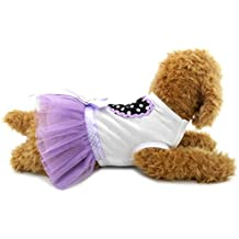 SELMAI Sweet Dots Heart Bow Dog Tutu Dress Tulle Skirt for Small Dog Cat Pupy Girl Princess Party Summer Clothes Purple M