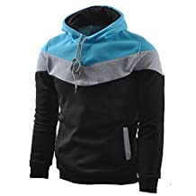 Mooncolour Mens Novelty Color Block Hoodies Cozy Sport Autumn Outwear
